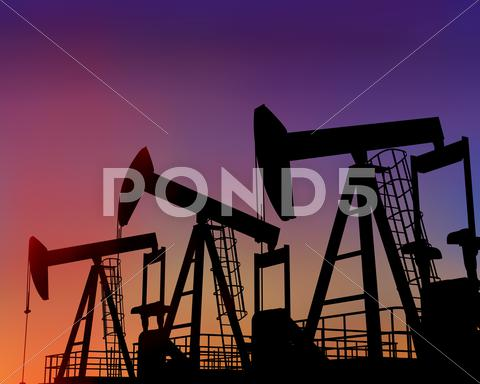 Stock Illustration of three oil wells in the desert at dusk