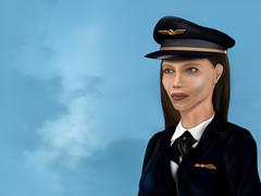 Female airline pilot Stock Illustration