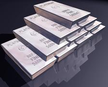 Stack of platinum bars Stock Illustration
