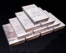 stack of silver bars - stock illustration