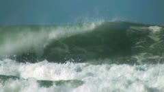 Stock Video Footage of Ocean wave green tube