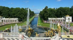 Famous petergof fountains in St. Petersburg Russia - timelapse 4k Stock Footage