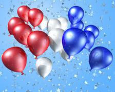 red, white and blue balloons on a starry background - stock illustration