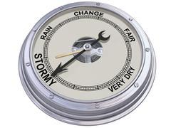 Barometer indicating stormy weather Stock Illustration