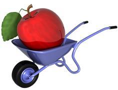 Giant apple in a wheelbarrow Stock Illustration