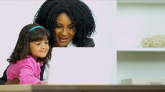 Cute Child Watching Working Mother Laptop Stock Footage