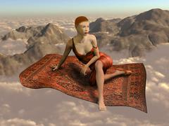 Flying a magic carpet over the clouds Stock Illustration