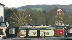 Canalside Fairground Stock Footage