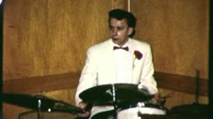 DRUMMER Teenage Rock and Roll Band 1958 (Vintage Film Home Movie Footage) 3126 Stock Footage