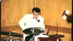 DRUMMER Plays Drum Teenage Rock and Roll Band 1950s Vintage Film Home Movie 3127 - stock footage