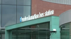 Bus Station Entrance Stock Footage