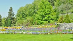 Tourists at island Mainau / Lake Constance Stock Footage
