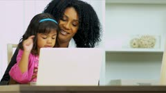 Stock Video Footage of Working Mom With Pre School Daughter