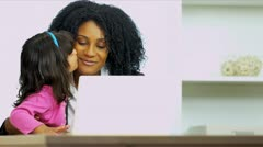 Working Mom With Pre School Daughter - stock footage