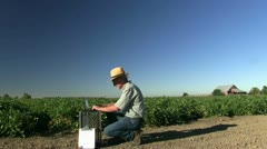 farmer on the land - stock footage