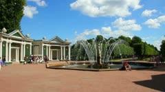 Eva fountain in petergof park St. Petersburg Russia Stock Footage