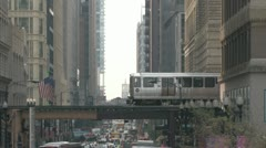 Elevated Train in Chicago Stock Footage