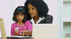 African American Working Mom Cute Daughter - stock footage