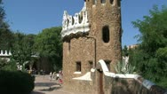 Tilt from building at the entrance at Park Güell Stock Footage