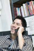 Man talking on telephone Stock Photos