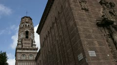 Church tower in Barcelona Village Museum Stock Footage