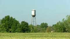 Water Tower and Corn Field Stock Footage