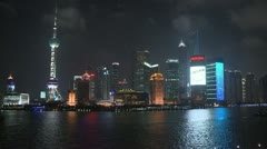 Shanghai, China, The Bund, Night time 3 Stock Footage