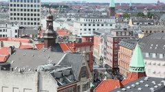 Cityscape with roof of many building and small part of street Stock Footage