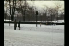 NYC central park snow shoveling 1940s Stock Footage