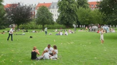 Many people get rest on grass field in Royal park t weekend Stock Footage