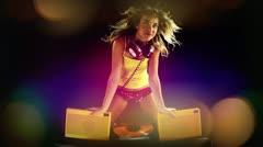 girl dancing, vintage sound system - stock footage
