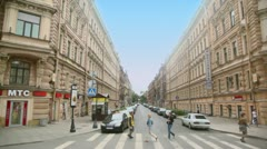 People walk by pedestrian crossing at Nevsky avenue Stock Footage
