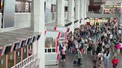 People at box office near entrance of Kursky railroad station Stock Footage
