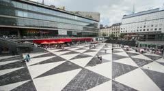 Many citizens walk by Sergels torg square in Stockholm Stock Footage