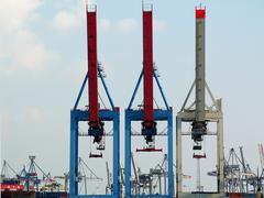cargo cranes - stock photo