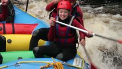 People enjoying rafting on white water, river tryweryn, bala, wales - stock footage