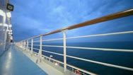 Stock Video Footage of Empty deck of ship which float on sea at evening during cruise