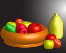 Apples on table Stock Illustration