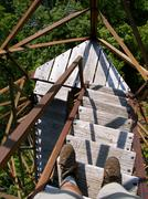 Hiker atop Appalachian Mountain Firetower Steps.JPG Stock Photos