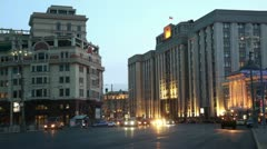 Evening traffic on Okhotny Ryad and State Duma at evening Stock Footage