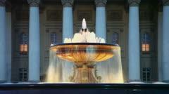 Fountain with night illumination near Bolshoy theater edifice Stock Footage