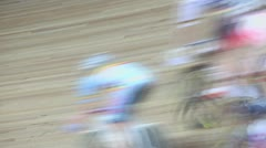 Group of bicyclists pass by track during race, closeup view Stock Footage