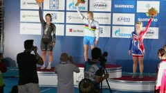 Winners of world championship S.McKenzie, A.Voinov, J.Valente - stock footage