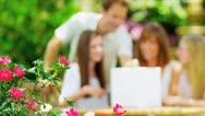 Caucasian Family Wireless Laptop Outdoors Stock Footage