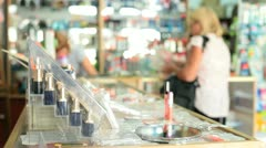Women Shopping in Cosmetics Department Stock Footage