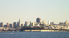San Francisco Skyline and Speed Boat - stock footage