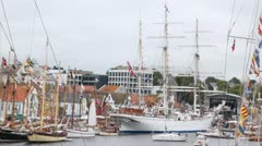 Three-mast Norwegian sailing ship stands in port of Stavanger - stock footage