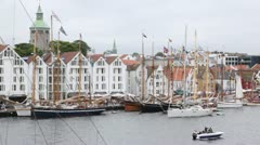 Many sailing boats stand on mooring in port of Stavanger Stock Footage
