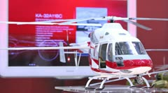 Helicopter Ansat stands on International exhibition Stock Footage