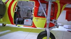 Helicopter of Ambulance stands on International exhibition Stock Footage